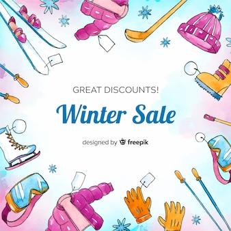 Akwarela zimowe ubrania sprzedaż tło