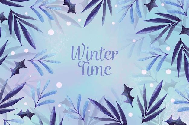 Akwarela zimowy czas tło