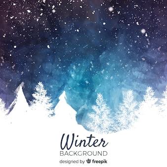 Akwarela zimowy krajobraz tło