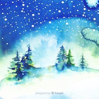 Akwarela zimowy krajobraz z drzewami