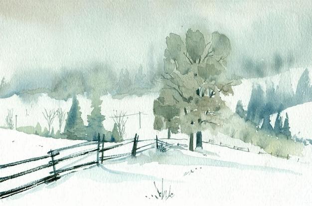 Akwarela zimowy krajobraz z ilustracji drzew