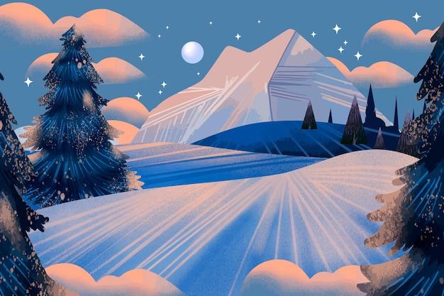 Akwarela zimowy krajobraz