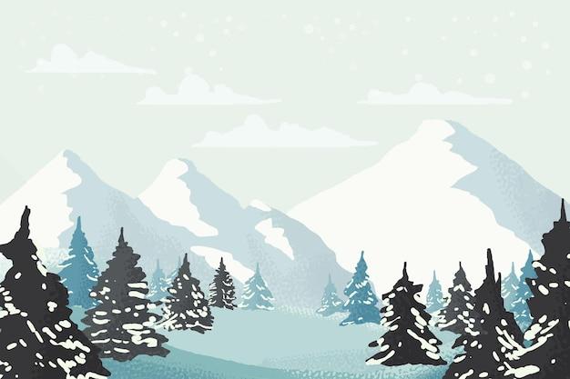 Akwarela zimowy wspaniały krajobraz