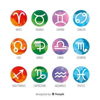 Akwarela znaki zodiaku collectio