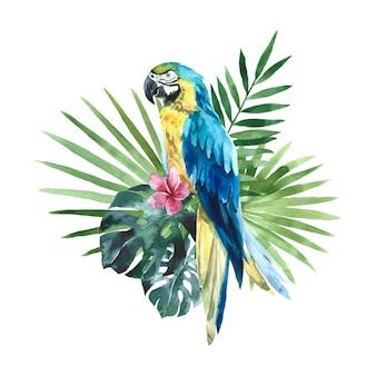 Akwarela żółta niebieska papuga ara z tropikalnymi liśćmi palmowymi i kwiatami