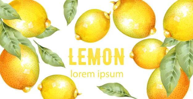 Akwarela żółte cytryny z zielonymi liśćmi