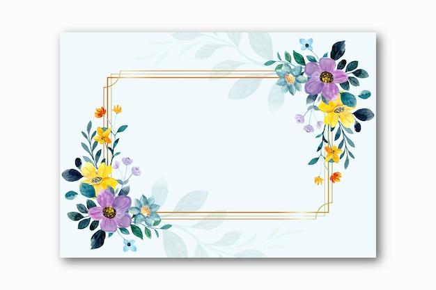 Akwarela żółty fioletowy kwiatowy rama