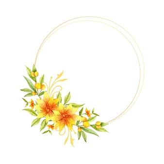 Akwarela żółty kwiat i liście ramki