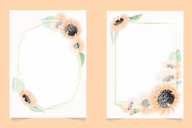 Akwarela żółty wieniec słonecznika z złotą ramą zaproszenia ślubne lub kolekcja szablonów kart urodzinowych