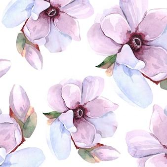 Akwarela zwierząt kwiatowy liści tło wzór