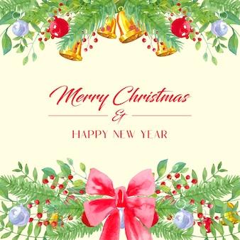 Akwarela życzenia bożonarodzeniowe, z liśćmi, czerwoną kokardką, bombkami i dzwonkami