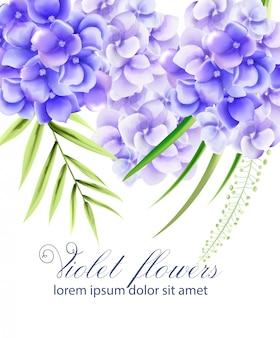 Akwarela żywe fioletowe kwiaty z zielonymi liśćmi