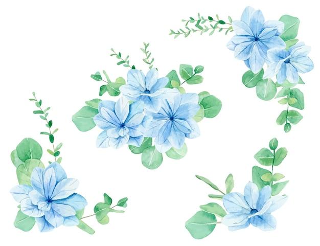 Akwarele bukiety kwiatowe i kompozycje niebieskie kwiaty i gałęzie eukaliptusa
