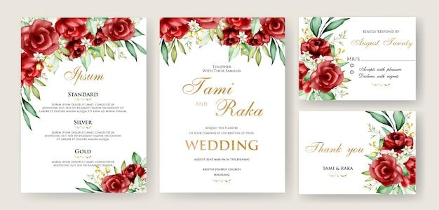 Akwarele kartki ślubne z kwiatową ramką