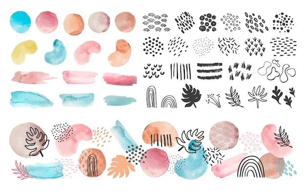 Akwarele kształtów, linii i wzorów. plamy sztuki abstrakcyjnej i pociągnięcia pędzlem. modna farba tekstura, kropki i zestaw wektor liści. ilustracja akwarela nadruk współczesny, graficzny obrys i forma