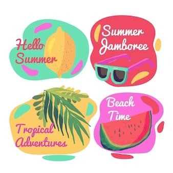 Akwarele letnie etykiety