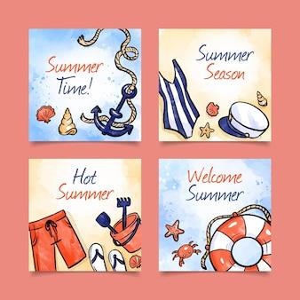 Akwarele letnie karty