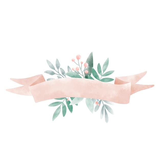 Akwarele liści z banerem wektor