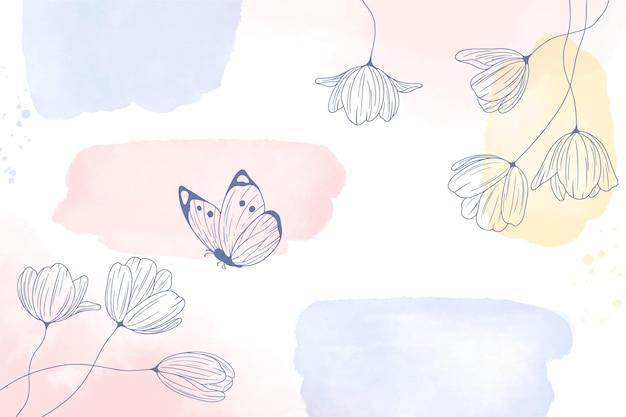 Akwarele malowane tła z ręcznie rysowane kwiaty