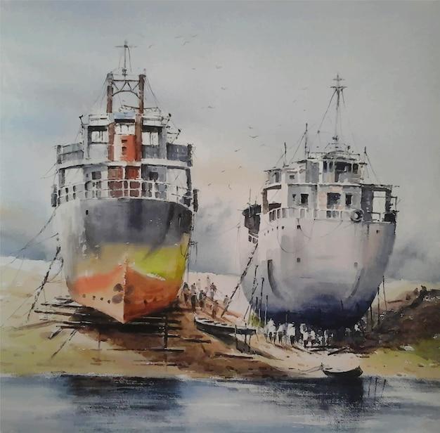 Akwarele obrazy statki na morzu krajobraz