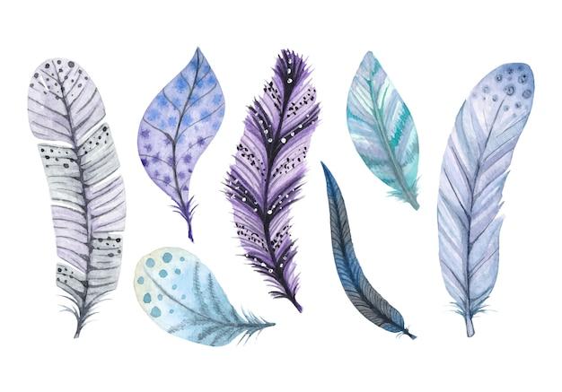Akwarele ozdobne pióra w kolorze niebieskim i fioletowym
