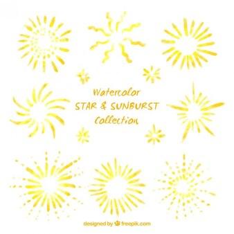 Akwarele ręcznie malowane gwiazdek i sunburst