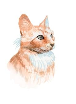 Akwarele ręcznie malowane ilustracja kot