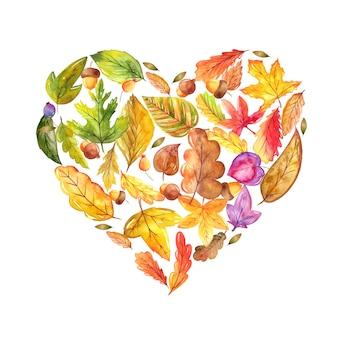 Akwarele ręcznie malowane liście w kształcie koła