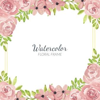 Akwarele ręcznie malowane różowa róża kwiatowy rama kwadratowa