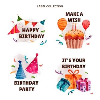 Akwarele ręcznie rysowane etykiety urodzinowe