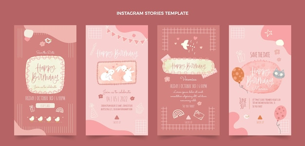 Akwarele ręcznie rysowane historie urodzinowe ig