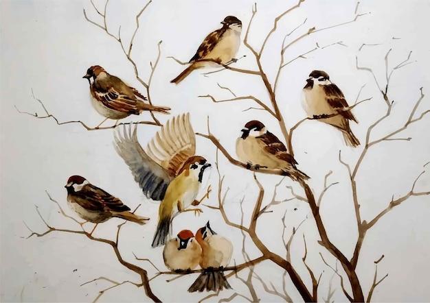 Akwarele ręcznie rysowane ilustracji ptaków