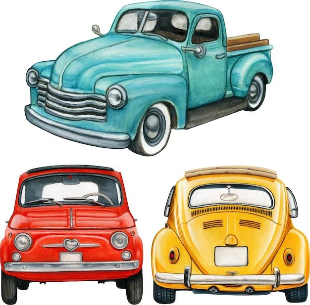 Akwarele ręcznie rysowane kolorowe samochody zabytkowe