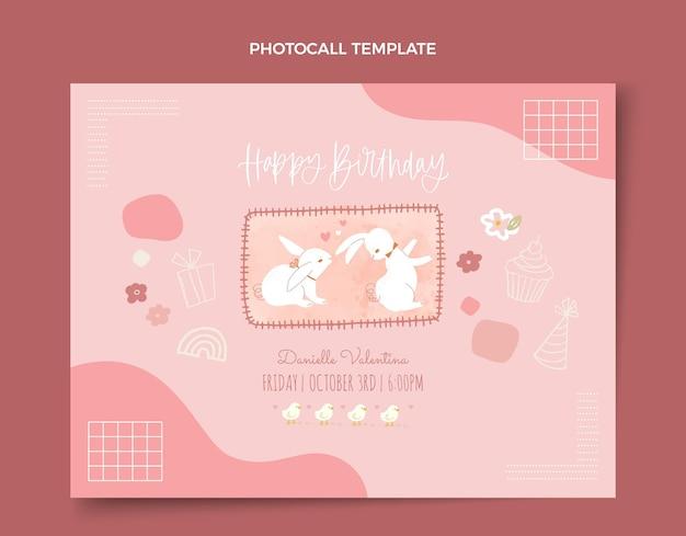 Akwarele ręcznie rysowane urodziny photocall
