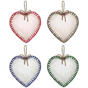 Akwarele ręcznie rysowane w kształcie serca nadziewane świąteczne dekoracje