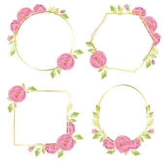 Akwarele ręcznie rysują różowy wieniec z angielskiej róży z geometryczną kolekcją złotej ramy