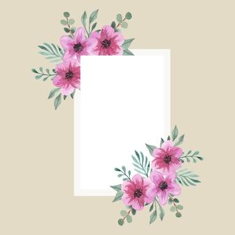 Akwarele różowe kwiaty bukiet ramki edytowalne