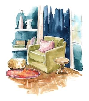 Akwarele salonu szkicują przytulny kącik z fotelem przy oknie