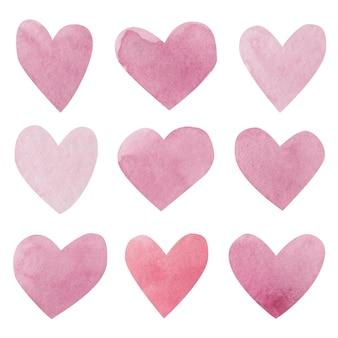 Akwarele serca. śliczne różowe serca.