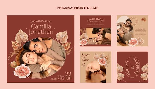 Akwarele ślubne boho posty na instagramie