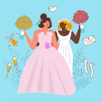 Akwarele ślubne narzeczonych ilustrowane