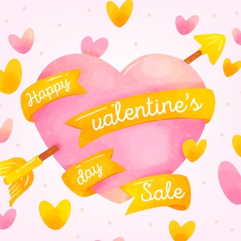 Akwarele sprzedaż serce valentine wstążkami
