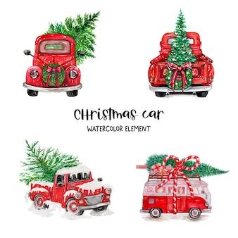 Akwarele świąteczne ciężarówki, elementy świąteczne