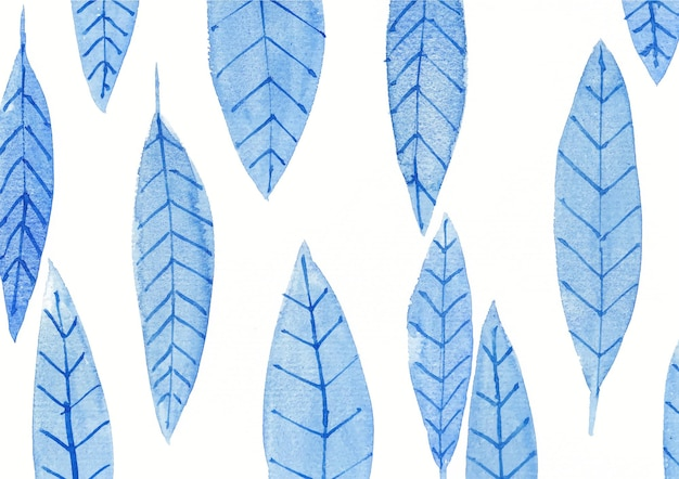 Akwarele sztuki tła z niebieskimi liśćmi