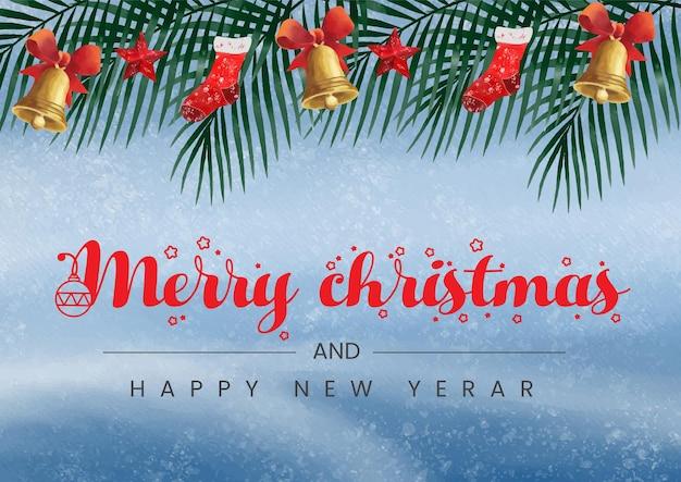 Akwarele tła tematyczne boże narodzenie i szczęśliwego nowego roku z ozdobami