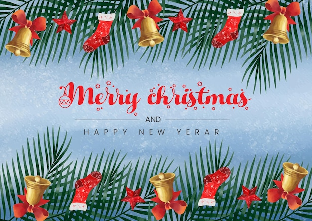Akwarele tła tematyczne boże narodzenie i szczęśliwego nowego roku z piękną prezentacją
