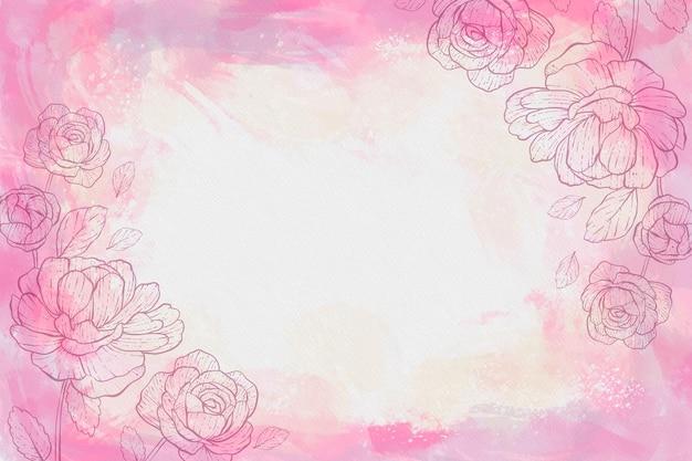 Akwarele tła z rysowane kwiaty i pustej przestrzeni