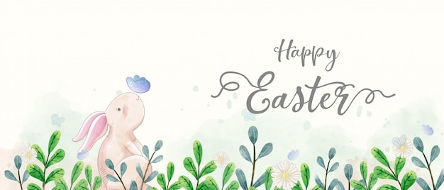 Akwarele transparentu wielkanocnego. króliki krzyżują się z motylem w ogrodzie.