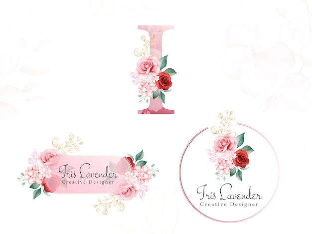 Akwarele z kwiatowym złotym logo ustawionym na początkowe i miękkich kwiatów, liści i złotego brokatu. wstępnie wykonana plakietka z kwiatami, monogram i pociągnięcie pędzla