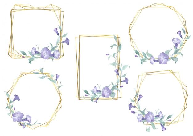 Akwarele złote kwiatowe geometryczne ramki z liści i kwiatów botanicznych.